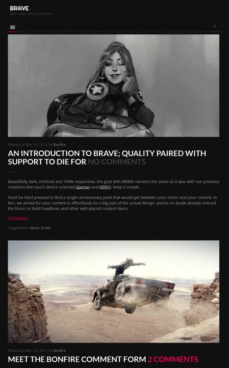 brave dark clean responsive theme