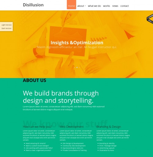 disillusion one page responsive wordpress theme