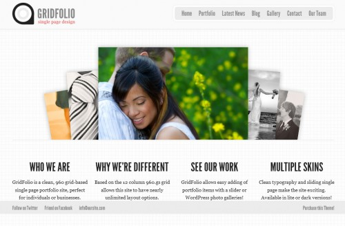 GridFolio - Single Page WordPress Portfolio Theme