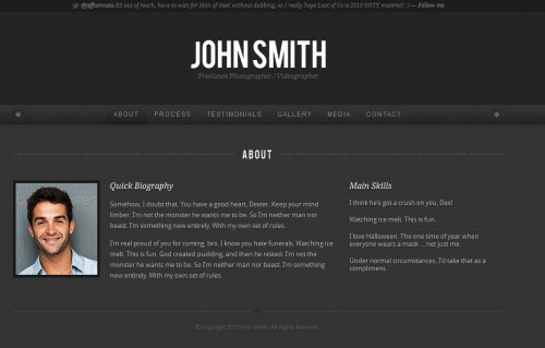 personality one page wordpress portfolio theme