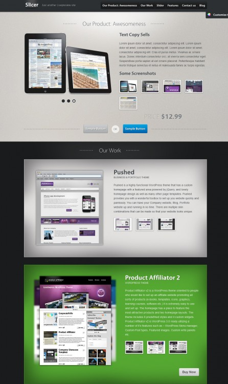 slicer one page business template